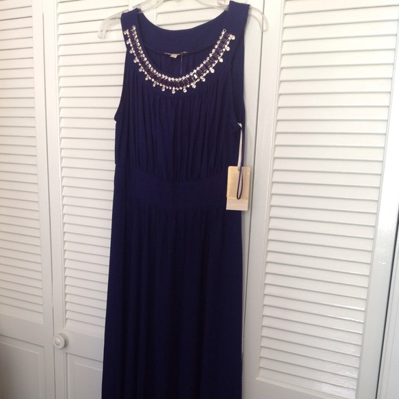 sandiva Dresses | Nwt Evening Gown With Jeweled Neckline | Poshmark